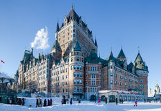 Chateau Frontenac in winter Stock Photos