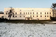 Chateau Frystat in Karvina city in Czech republic. Chateau Frystat from Park Bozeny Nemcove garden in Karvina city in Czech republic during winter day with a bit Royalty Free Stock Photo