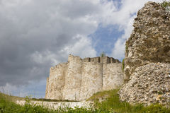 Chateau Gaillard defending walls. The ruins of the defensive walls of the Richard Lion Heart castle, in Le Petit Andely, Normandy, France Royalty Free Stock Image