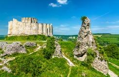 Chateau Gaillard, een geruïneerd middeleeuws kasteel in de stad van Les Andelys - Normandië, Frankrijk stock afbeelding