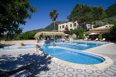 Chateau hotel swimming pool royalty free stock images