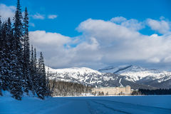 Chateau Lake Louise i vinter Royaltyfri Fotografi