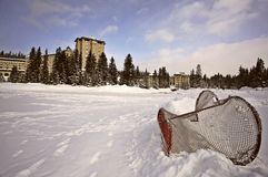 Chateau Lake Louise in winter in Alberta Canada Stock Photo