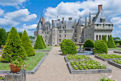 Chateau Langeais Garden. Garden and chateau Langeais, Loire Valley, France royalty free stock images