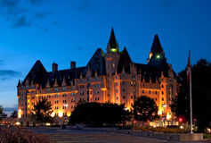 Chateau Laurier Hotel in Ottawa. Historic landmark, the Chateau Laurier Hotel in Ottawa, lit up at dusk Royalty Free Stock Photos