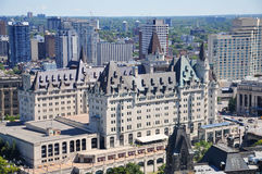 Chateau Laurier in Ottawa, Canada. Aerial view of Fairmont Chateau Laurier in downtown Ottawa, Ontario, Canada Stock Photos