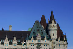 Chateau Laurier Roof Line. The castle like roof line of the old and beautiful Chateau Laurier in downtown Ottawa, Ontario stock images