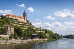 Chateau Melnik. The Melnik chateau on the hilltop above Elbe river, Czech Republic stock images