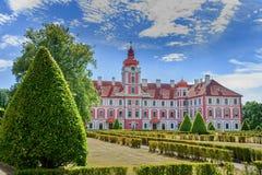 Chateau Mnichovo Hradiste. The baroque chateau Mnichovo hradiste surrounded by the french garden - Czech Republic stock image