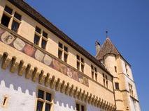 Chateau in Neuchatel Switzerland. The ornately decorated walls of the chateau in Neuchatel, Switzerland Stock Image