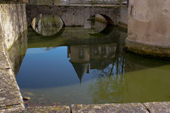 Chateau. Old french water fortress, reflection stock photo
