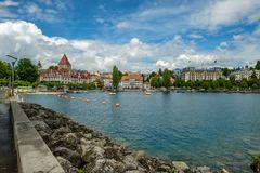 Chateau Ouchy, een luxehotel in Ouchy, Lausanne, Zwitserland royalty-vrije stock fotografie