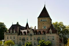 Chateau Ouchy Lausanne Arkivfoton