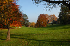 Chateau and Park in Autumn Stock Photo