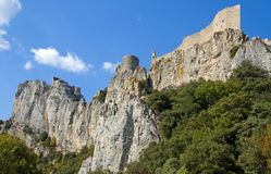 Chateau Peyrepertuse stock photography
