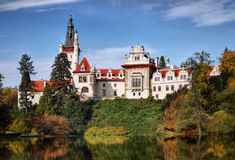 Chateau Pruhonice Landmark Bohemia. Landmark - Pruhonice Chateau. Front view over the castle pond. Czech Republic stock photos