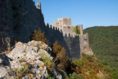 Chateau Puilaurens nord walls Royalty Free Stock Images