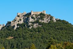 Chateau Puilaurens from the side. General view of Chateau Puilaurens Royalty Free Stock Photo