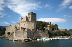 Chateau reale, Collioure, Francia. fotografia stock libera da diritti