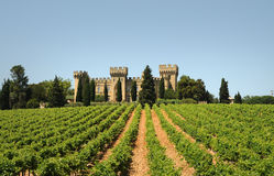 Chateau. Restaurant and winery in the middle of vineyards in burgundy, France stock image