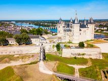 Chateau Saumur aerial view, France. Chateau de Saumur castle aerial panoramic view in Saumur city, Loire valler in France royalty free stock photography