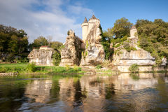 Chateau of Sergeac and river Stock Images