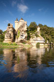 Chateau of Sergeac and river Royalty Free Stock Photo