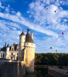 Chateau. Sky overcast blue balloons nature forest river sun shadow royalty free stock photo