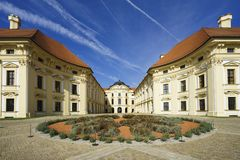 Chateau Slavkov. The Slavkov Chateau is one of the most powerful baroque chateaux in Moravia and it is a dominant of Slavkov near Brno stock images
