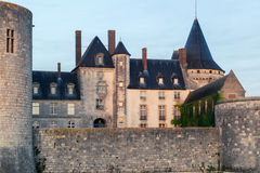 The chateau of Sully-sur-Loire closeup in the evening, France Royalty Free Stock Images