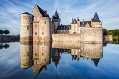 The chateau of Sully-sur-Loire, France. This castle is located in the Loire Valley, dates from the 14th century and is a prime example of medieval fortress Royalty Free Stock Photos
