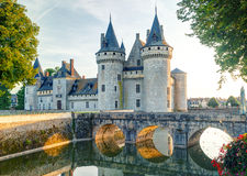 The chateau of Sully-sur-Loire, France. This castle is located in the Loire Valley, dates from the 14th century and is a prime example of medieval fortress Stock Photography
