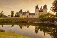 The chateau of Sully-sur-Loire at sunset, France. Castle is located in the Loire Valley. Sully-sur-Loire, France Stock Photography