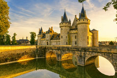 The chateau of Sully-sur-Loire at sunset, France. Stock Photo