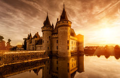 The chateau of Sully-sur-Loire at sunset, France Royalty Free Stock Images