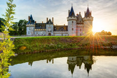 The chateau of Sully-sur-Loire at sunset, France. The chateau of Sully-sur-Loire, France. This castle is located in the Loire Valley, dates from the 14th century Stock Photos