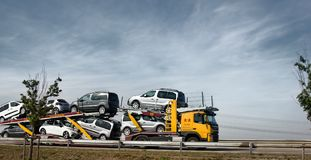 Haulaway loaded passenger cars. Chateau-Thierry, France - September 21, 2017: haulaway loaded passenger cars, transportation of cars, car transporter, car Royalty Free Stock Photography