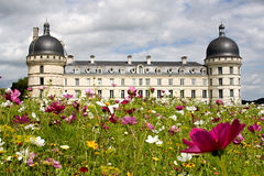 Chateau Valencay. The garden of castle of Chateau Valencay stock photo