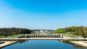 Chateau of Vaux le Vicomte. Facade South view of the gardens on the castle and the water rooms Stock Images