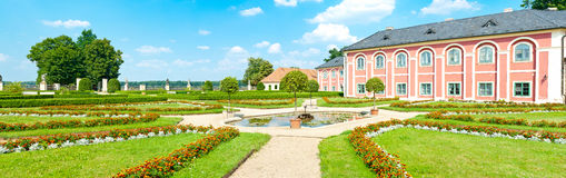 Chateau Veltrusy. Panorama of a well maintained park at baroque style chateau Veltrusy. Built in 18th century near Prague, Czech Republic, this chateau was the royalty free stock image