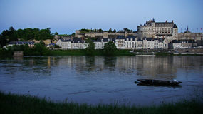 Chateau and village of Amboise on loir river Royalty Free Stock Images