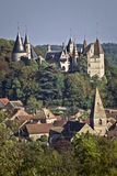 Chateau and village, La Rochepot, Bugundy, France. This 13th Chateau and village of La Rochepot is example of Burgundian architecture Stock Photography