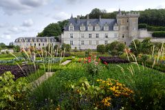 Chateau of villandry with garden royalty free stock photo