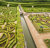 Chateau Villandry Garden. Garden in Chateau Villandry, Loire Valley, France. View from the top of a tower royalty free stock images