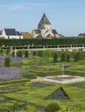 Chateau Villandry och by Arkivfoton