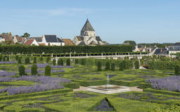 Chateau Villandry och by Royaltyfri Bild