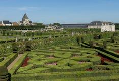 Chateau Villandry och trädgård Arkivfoto