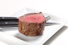 Chateaubriand牛排和刀叉餐具 免版税图库摄影