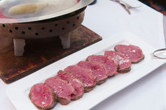 A chateaubriand or tenderloin steak on a plate Stock Image
