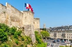 Chateauen de Caen, en slott i Normandie, Frankrike royaltyfria foton